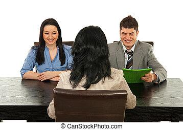 entrevista, feliz, pessoas negócio