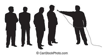 entrevista, grupo, negócio