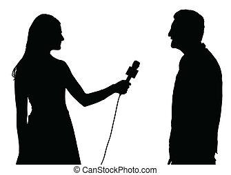 entrevista, imprensa, conduzido, mulher, entrevistador