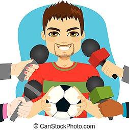 entrevista, jogador, futebol
