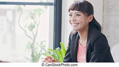 entrevista, mulher, conceito