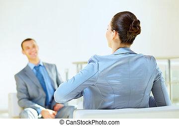 entrevista, negócio