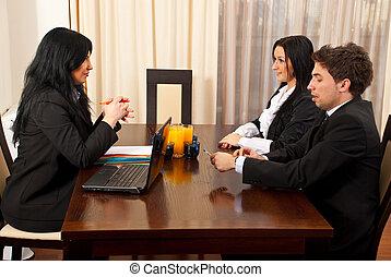 entrevista, pessoas, tendo, dois