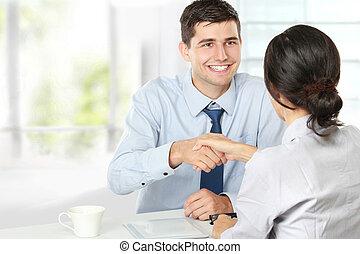 entrevista, recrutamento, aperto mão, após, trabalho
