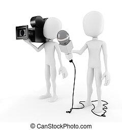 entrevista, reportero, -, 3d, hombre