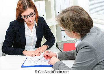 entrevista, solicitante de trabajo, teniendo