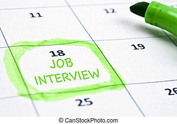entrevista, trabajo, marca