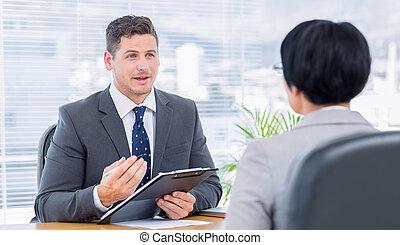 entrevista, trabajo, verificar, durante, reclutador,...