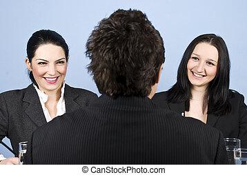 entrevista, trabalho, businesspeople