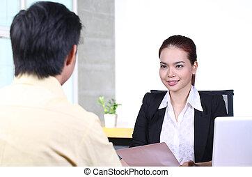 entrevista, trabalho, mulher, negócio asiático