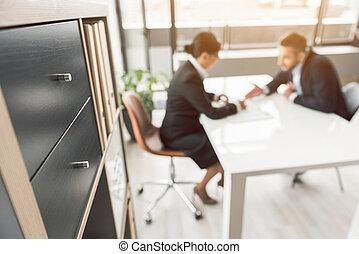 entrevista, trabalho, mulher, sofrendo, homem