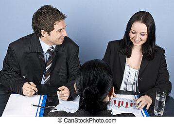 entrevista, trabalho, mulher, tendo