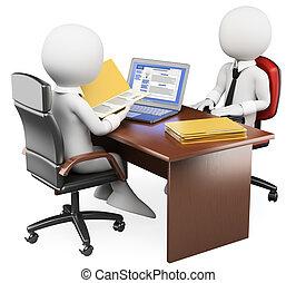 entrevista, trabalho, pessoas., 3d, branca