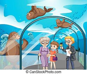 entrevista, visitantes, acuario, hombre