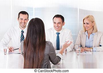 entrevue, affaires femme, parler