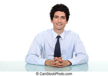 entrevue, attente homme affaires, sien