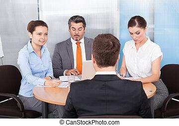 entrevue, conduite, businesspeople