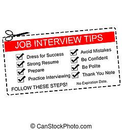 entrevue, coupon, métier, pointes, rouges