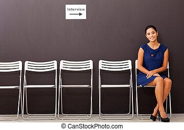 entrevue, femme affaires, attente, métier