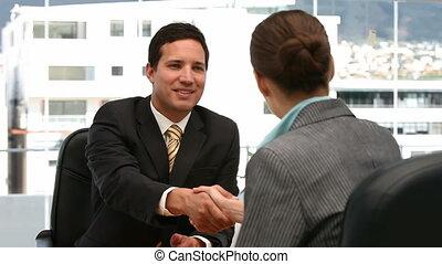entrevue, femme homme, entre