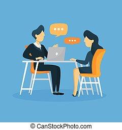 entrevue, illustration., business