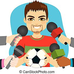 entrevue, joueur, football