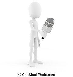 entrevue, journaliste, -, 3d, homme