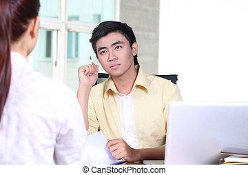 entrevue, métier, affaires asiatiques, homme