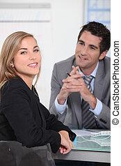 entrevue, métier, femme, jeune