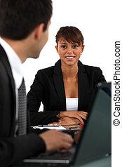 entrevue, métier, femme
