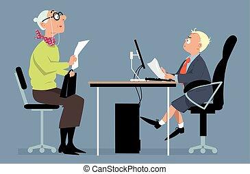entrevue, métier, jeune, patron