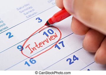 entrevue, marquer, calendrier, main