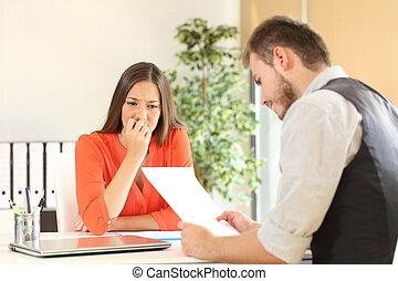entrevue, nerveux, métier, femme, pendant
