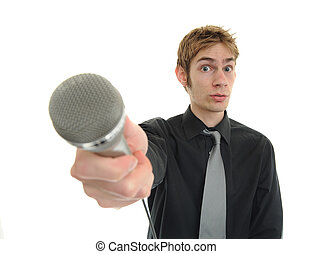 entrevue, nouvelles, journaliste, journaliste