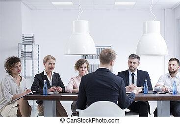 entrevue, pendant, candidat travail
