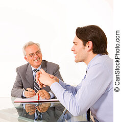 entrevue, pendant, métier, hommes, deux