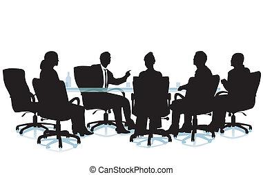 entrevue, séance, bureau
