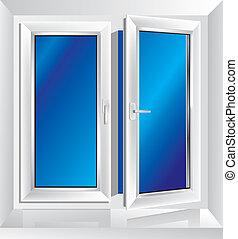 entrouvert, fenêtre, plastique, blanc