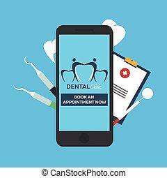 entry., 牙齒, appointment., 書, clinic., 在網上, logo.