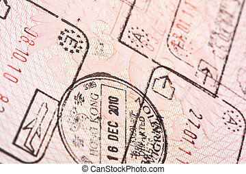 Entry and exit stamps - Passport with entry and exit stamps...