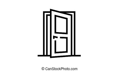 entry door animated black icon. entry door sign. isolated on white background