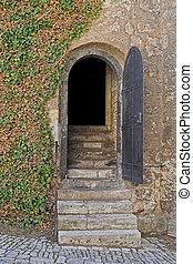 Entry door of a dungeon - Opened entry door of a dungeon ...