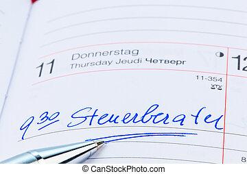 entry in calendar: accountants
