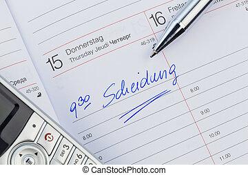 entry in the calendar: divorce
