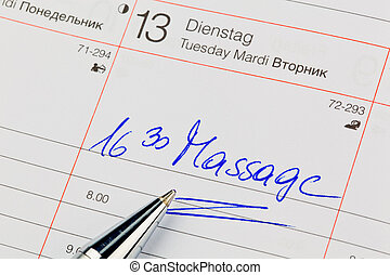 entry in the calendar: massage - a date is entered in a...