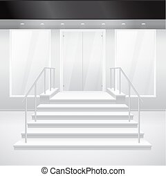 Entry to shop with stairs. Vector door