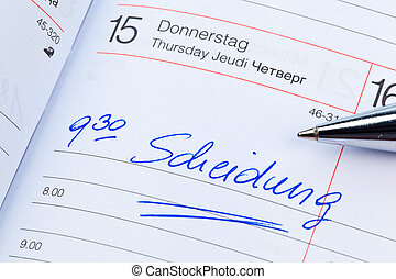 entry to the calendar: divorce