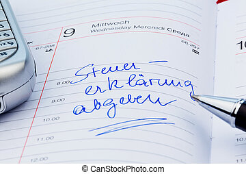 entry to the calendar tax return - an appointment is entered...