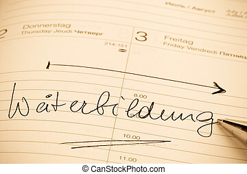 entry to the calendar training - an appointment is entered...