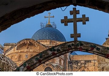 The 9th station of the cross in Via Dolorosa at the entree to the Coptic Orthodox Patriarchate